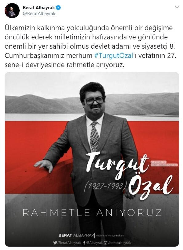 Bakan Albayrak'tan Turgut Özal mesajı