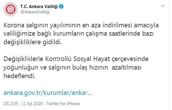 Son dakika haberi: Ankara Valiliği'nden mesai saati kararı!