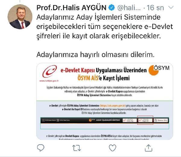 ÖSYM Başkanı Aygün: ÖSYM Aday İşlemleri Sistemi e-Devlet'e taşındı