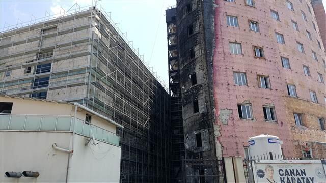 Yanan Taksim Eğitim ve Araştırma Hastanesi'nde onarım çalışmaları sürüyor