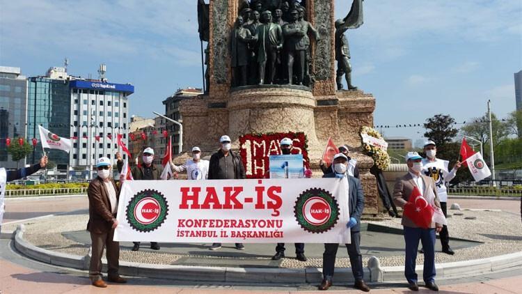 Taksim'de 1 Mayıs… Çelenk bıraktılar…