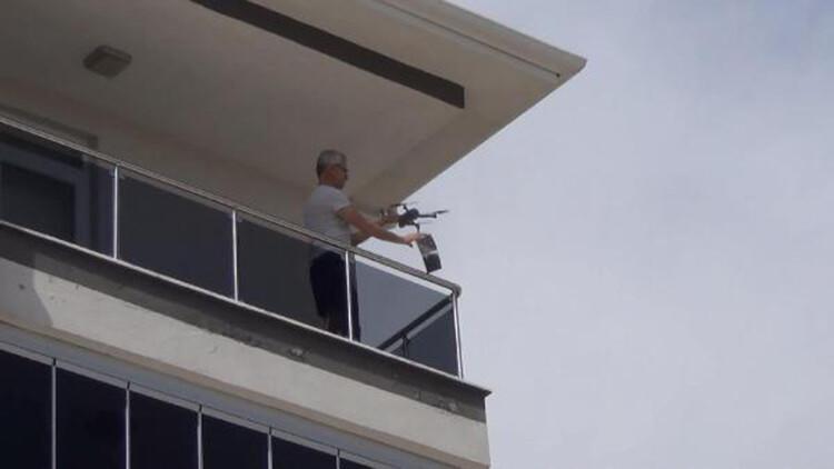 Çorum'da drone ile maske dağıtımı